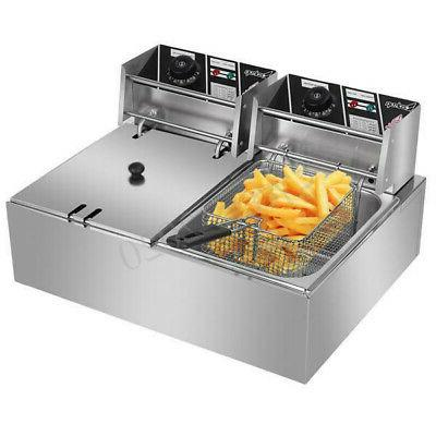 5000W Electric Fryer Dual Restaurant Stainless
