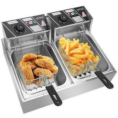 5000W 12L Electric Fryer Dual Restaurant Steel