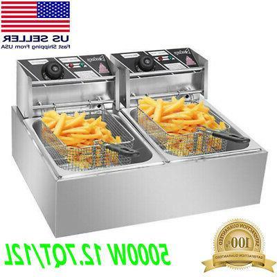 5000w 12l electric deep fryer dual tank