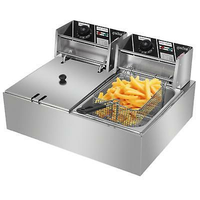 5000W Dual Tank Electric Fryer Stainless Steel Commercial Basket
