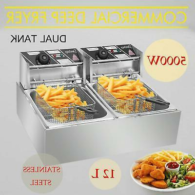 5000w 12lt dual tank electric deep fryer