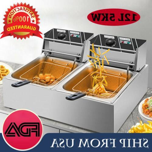 5000w electric countertop deep fryer dual tank
