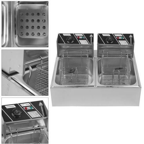 6L//11L//12L Electric Countertop Deep Fryer Dual Tank Commercial Restaurant Steel