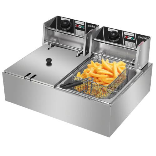 5000W Fryer Dual Restaurant Stainless