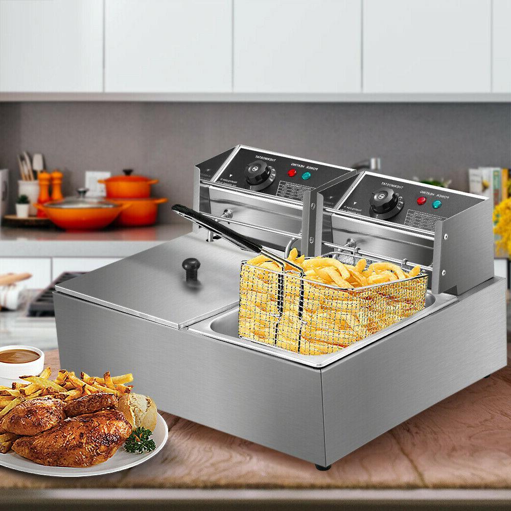 5000w electric deep fryer stainless steel dual