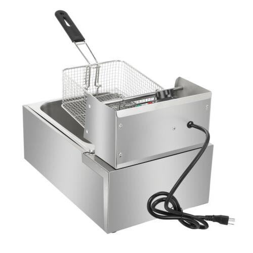 2500W 6.3QT/6L Stainless Electric Deep Fryer Home Commercial Restaurant