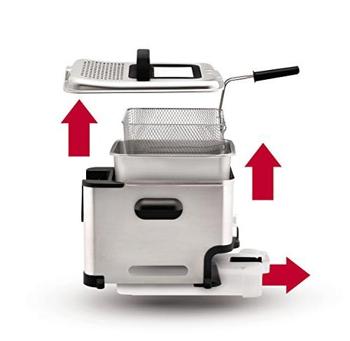 T-fal Filtration Ultimate EZ Easy Fry Basket Stainless Immersion Deep 2.6-Pound, Silver