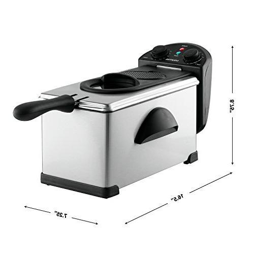 Gourmia GDF300 Restaurant Deep - 1 Basket Temperature Dials - 3L - Cups - Lb Food Anti-Odor - E-Recipe