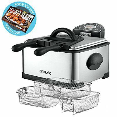 Gourmia GDF450 Compact Electric Deep Fryer 3 Baskets Dual Th