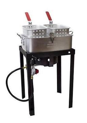 Outdoor 50,000 BTU 18 Qt Propane Gas Dual Basket Tailgate Pa
