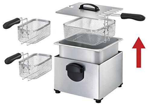 T-fal FR3900 Deep Electric Deep Fryer, Stainless Steel Triple Basket Fryer, 4 Silver