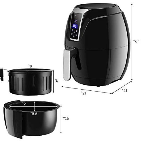 Costzon Electric Fryer, 3.4 1400W, Oil Cooking, 7-In-1 Electric Detachable Handle
