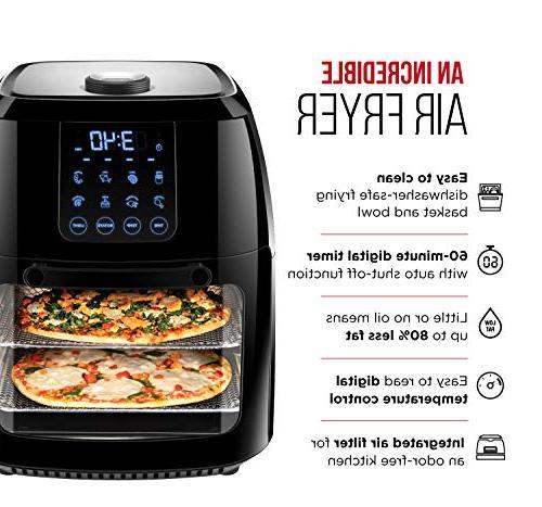 Chefman Digital Air Fryer+ Rotisserie, Convection Oven, 8 Fry, & More, Accessories 6 Liter