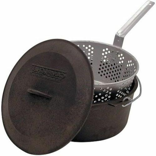 cast iron pot deep fryer basket lid outdoor cook steam boil