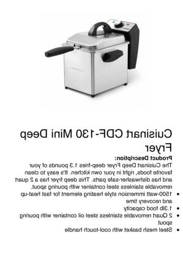 Cuisinart CDF-130 Fryer Brand New In Box