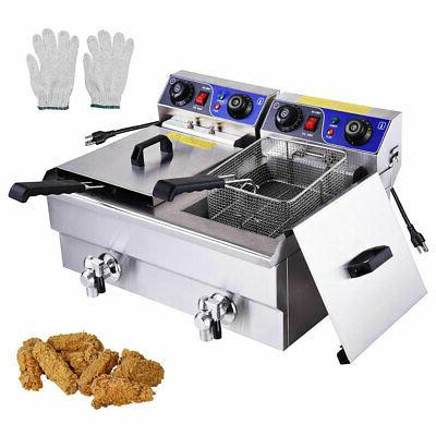 Commercial Electric 23.4L Deep Fryer Dual Tank with Timers a