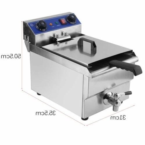 Commercial Restaurant Electric Deep Fryer + Timer Drain