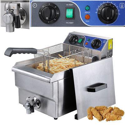 Deep Fryer w/ Drain Timer 11.7L Commercial Electric Stainles
