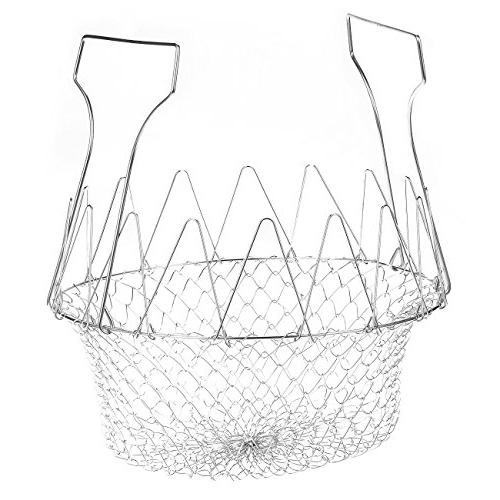 Rinsing 9 x 3.35 x 9 Inches Deep Fry Basket Steaming Cooking Basket for Frying Straining Stainless Steel Foldable Strainer Basket Colander
