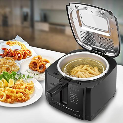 Flexzion Basket Deep w/2 Capacity Adjustable Grease & Removable Fries