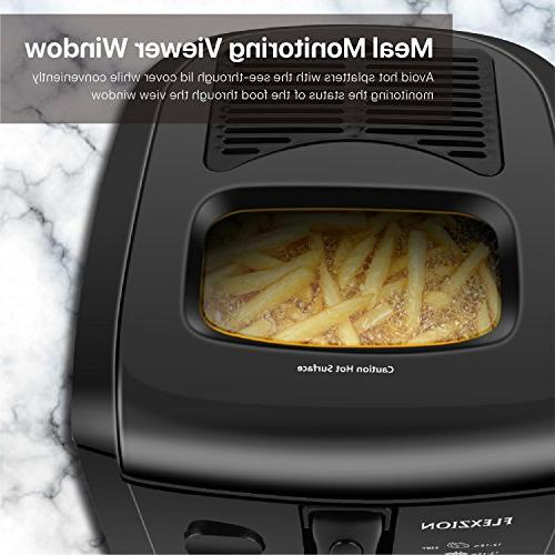 Flexzion Deep Fryer Basket Deep Fat Cooker w/2 Food Capacity Temperature Grease Filter Container Fries Shrimp