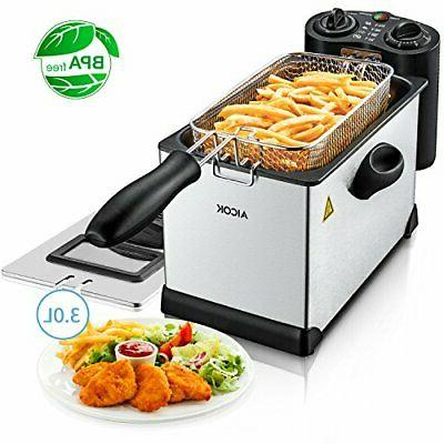 Deep Fryer with Basket, Aicok Stainless Steel Electric Oil D