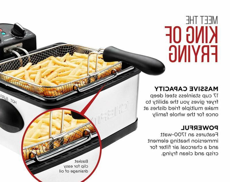 Chefman Deep Basket Strainer Perfect for Chicken, Shrimp,