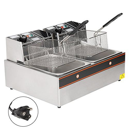 Idealchoiceproduct 5000W 12L Dual Tanks Electric Professional Frying Machine With Basket