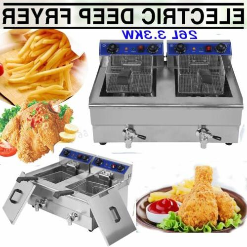 Electric Countertop Deep Fryer Dual Tank Commercial Restaura