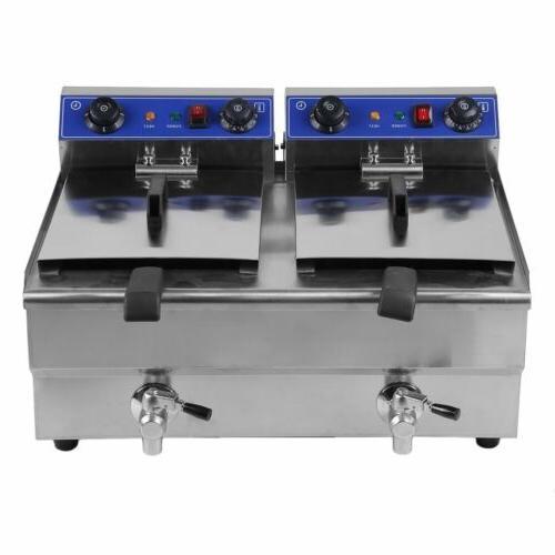 26L Dual Tanks Electric Deep Fryer Commercial Tabletop Fryer