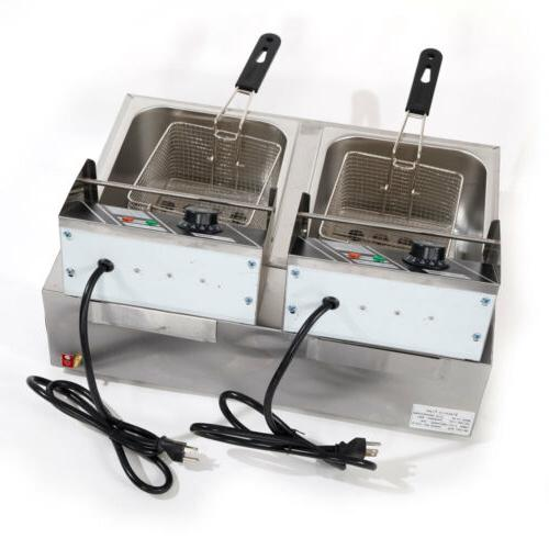 5000W Electric Fryer Dual Tank Commercial Restaurant 12 Liter
