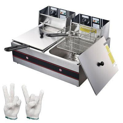 60Hz Electric Countertop Deep Fryer Commercial Dual Basket F