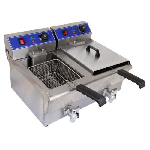 Electric Countertop Deep Fryer Dual Commercial Restaurant Steel