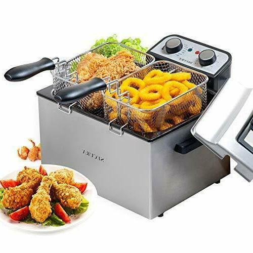 electric deep fryer 1800w large stainless steel