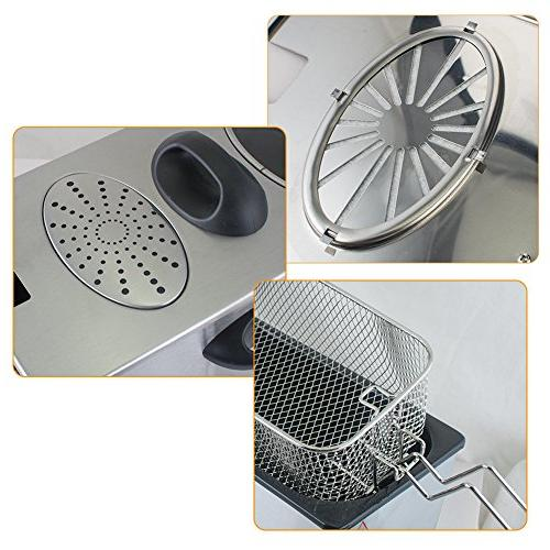 Electric Deep Fryer, 4L Capacity Stainless-Steel Single-Tank Frying for Restaurants, Household