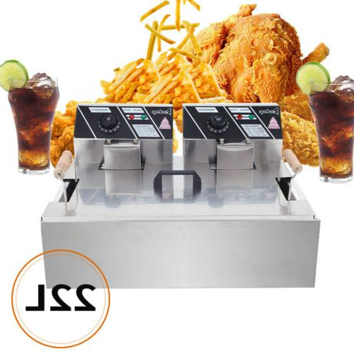 2500W Fryer Stainless Tabletop Fry Basket
