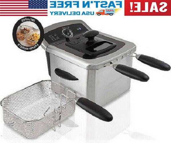 electric deep fryer cooker home countertop dual