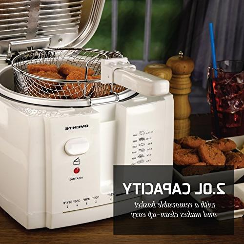 Ovente Electric Fryer Removable Basket, Temperature Control, Cool-Touch Handle, Light, Viewing Window Odor 1500-Watts,