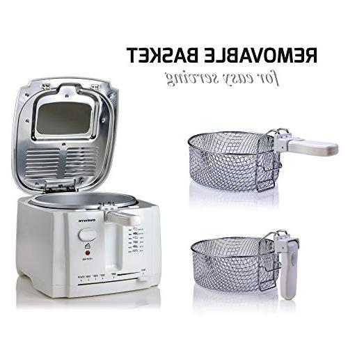 Ovente Electric Fryer Removable Basket, Cool-Touch Handle, Light, Viewing and Odor