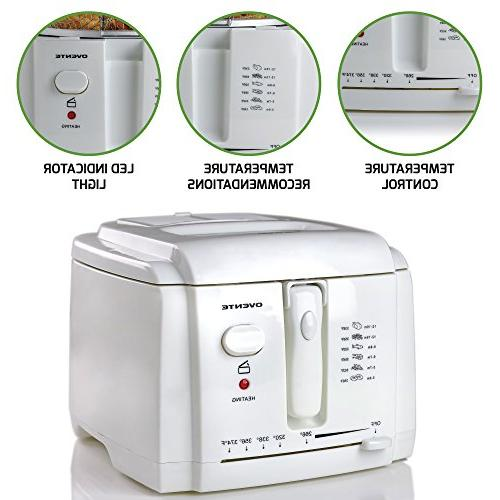 Ovente 2-Liter Deep Fryer Removable Basket, Adjustable Temperature Control, Cool-Touch Light, and