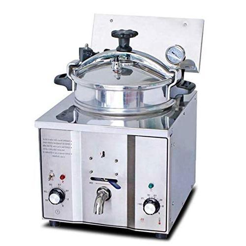 16L Electric Pressure Fryer, Pressure Fryer w/Timer 50-200℃ Commercial Snack Bars
