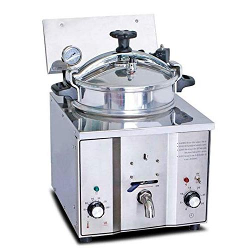 16L Pressure Fryer, Pressure Fryer w/Timer & Temperature 50-200℃ Stainless Commercial Snack Bars