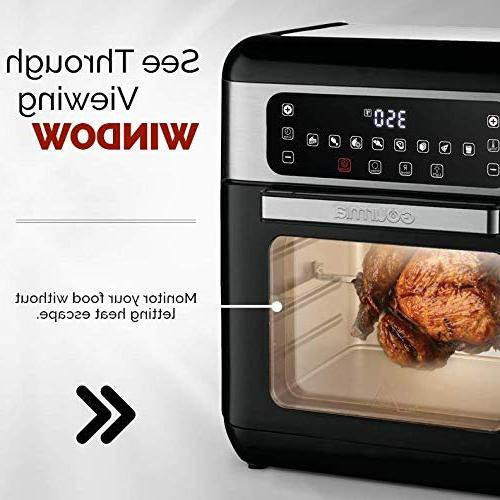 Gourmia GAF678 Digital Air Fryer Oven with & Rotisserie | Healthy Cooking Cook Modes | Glass Viewing Kit Free Recipe Book Included