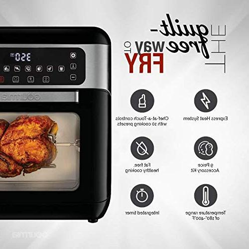 Gourmia Digital Free Air Fryer & Rotisserie | Cook | Glass Viewing Window Kit Included Free Recipe