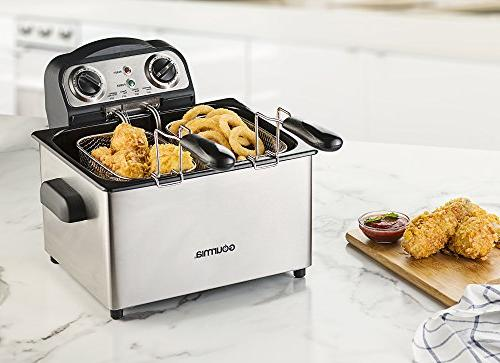 Gourmia GDF475 Electric Fryer - -Timer and Tank - - Food - - 1650W- Steel - Free