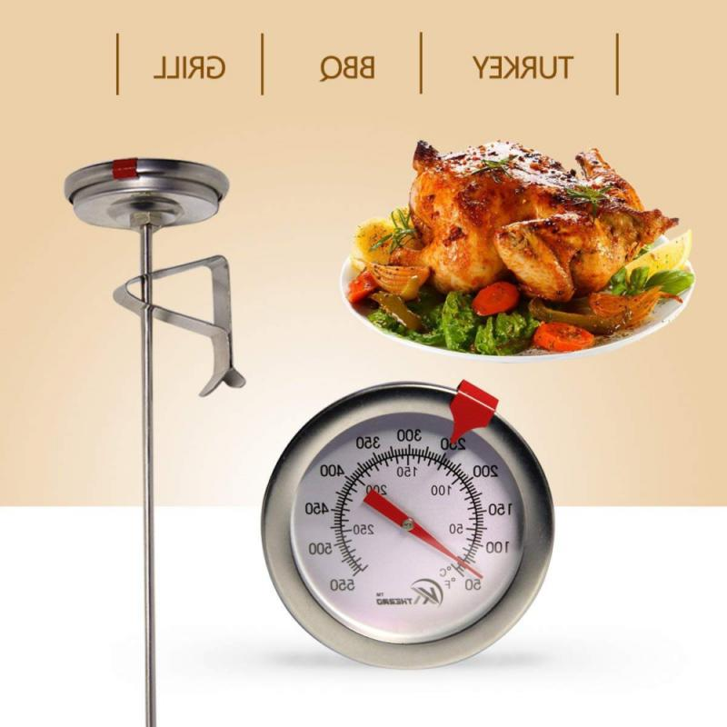 """KT THERMO Fry Thermometer With Instant Read,Dial,12"""" Stainless Steel"""