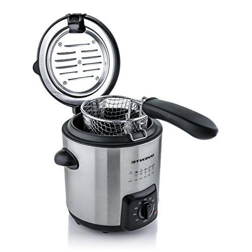 Ovente FDM1091BR Fryer Basket, Stainless Steel, Adjustable Control, Non-Stick Interior, Size, Brushed Nickel