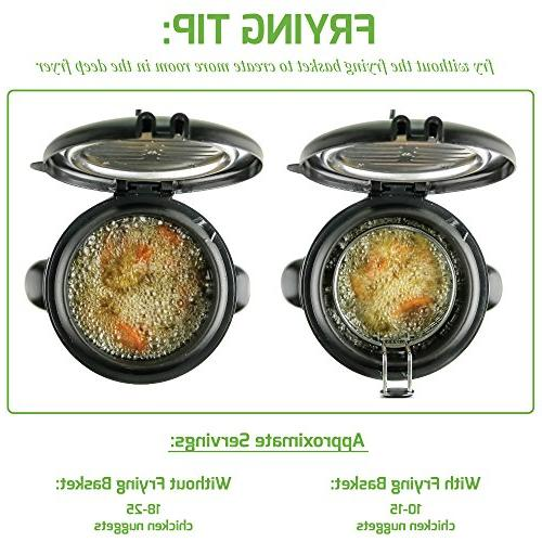 Ovente Fryer Stainless Adjustable Temperature Control, Non-Stick Interior, Personal Size, Brushed