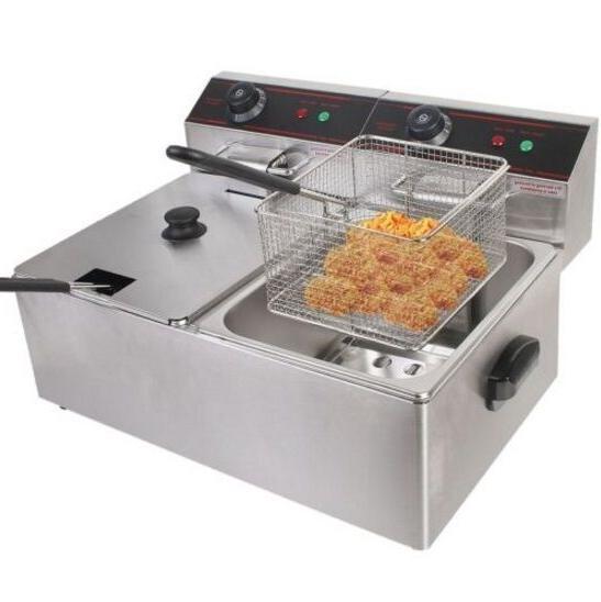 new 5000w electric countertop deep fryer dual