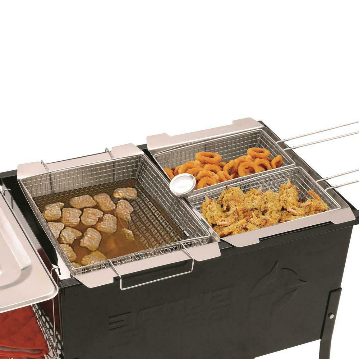 Portable Basket Fryer Camp Party Grill 2 Propane Fry Cooker
